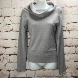 NWT Off Shoulder Cowl Neck Knit Sweater Gray Sz S